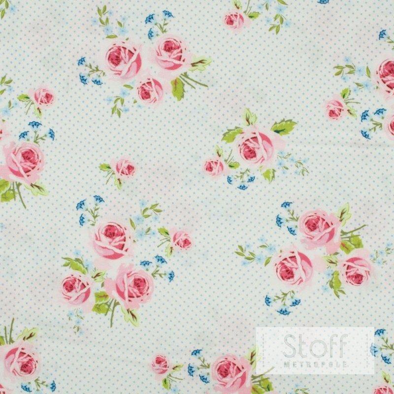 g termann bw stoff summer loft rosen auf wei mit blauen. Black Bedroom Furniture Sets. Home Design Ideas