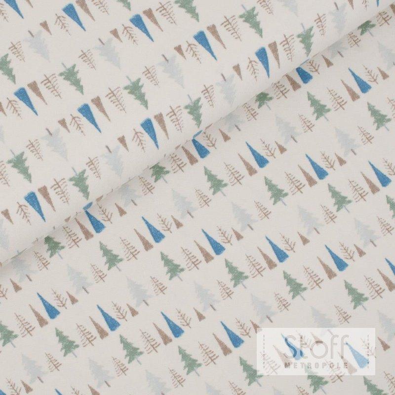 hochwertiger bio baumwolljersey mit b umen in gr n und blau. Black Bedroom Furniture Sets. Home Design Ideas