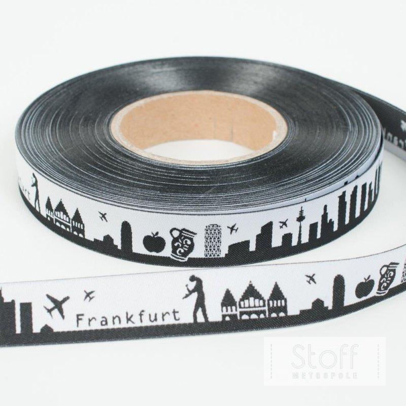 SKYLINE  Webband FRANKFURT, 16 mm schwarzweiß, 1,70 €