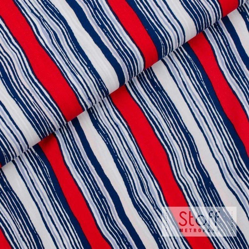 weicher viskose mit gemalten streifen in wei blau und rot von. Black Bedroom Furniture Sets. Home Design Ideas