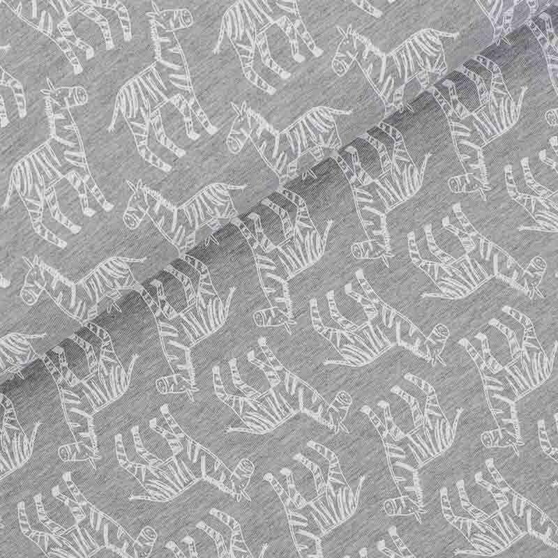 cooler jersey stoff wei e zebra grau melange stoffmetropole. Black Bedroom Furniture Sets. Home Design Ideas
