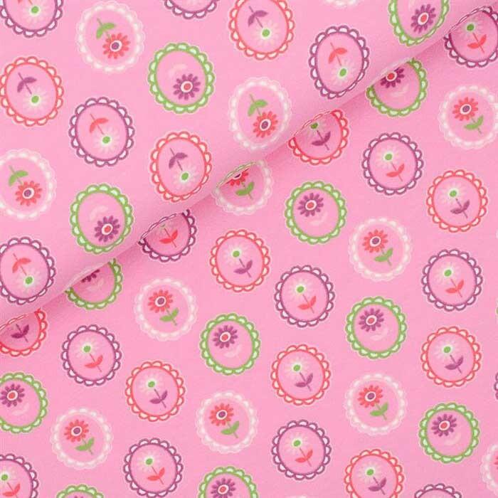 Jersey Stoff -Blumen im Rahmen -rosa - StoffMetropole.de